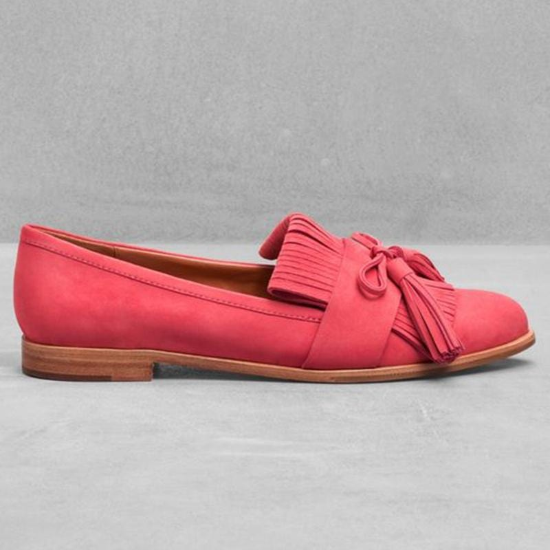 Women Retro Tassel Suede Leather Flat Shoes