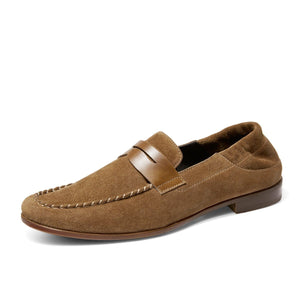 Suede Leather Loafers Soft Sole Comfy Leather Shoes Breathable Shoes-XXMX00630