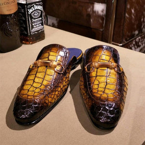 Men's Leather Slippers Handmade Original Design Top Fashion Half Shoes