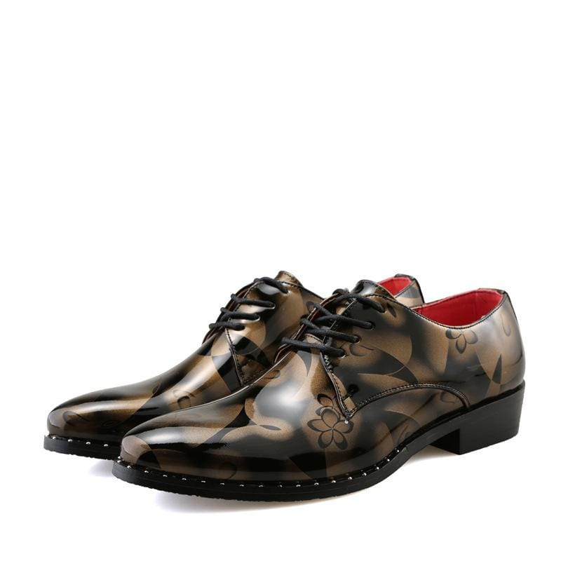 Floral Special Pattern Men's Leather Shoes Lace-up Shoes