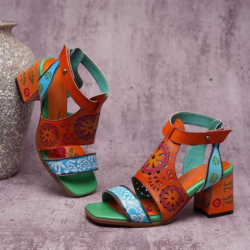 Special Pattern Chunky Heel Sandals