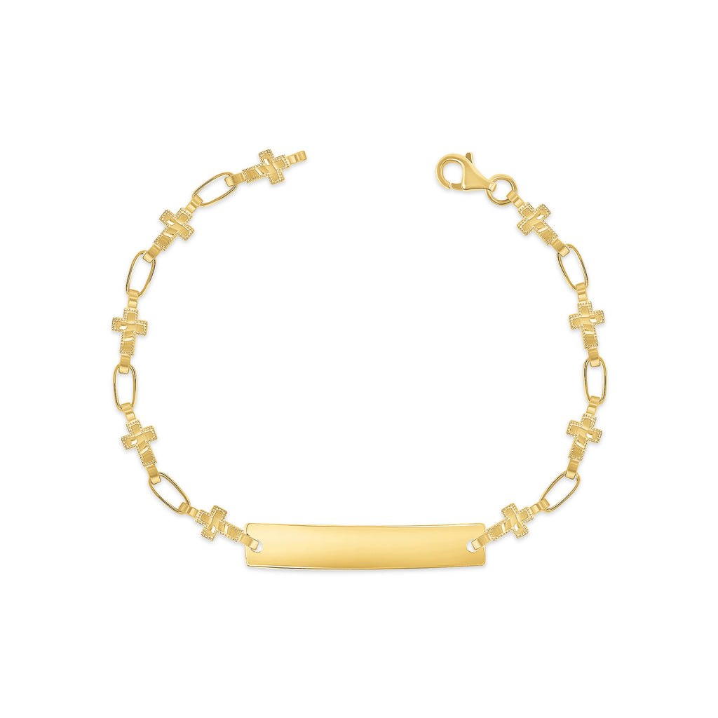 14K Gold Cross ID Bracelet, RETRO LINK ©