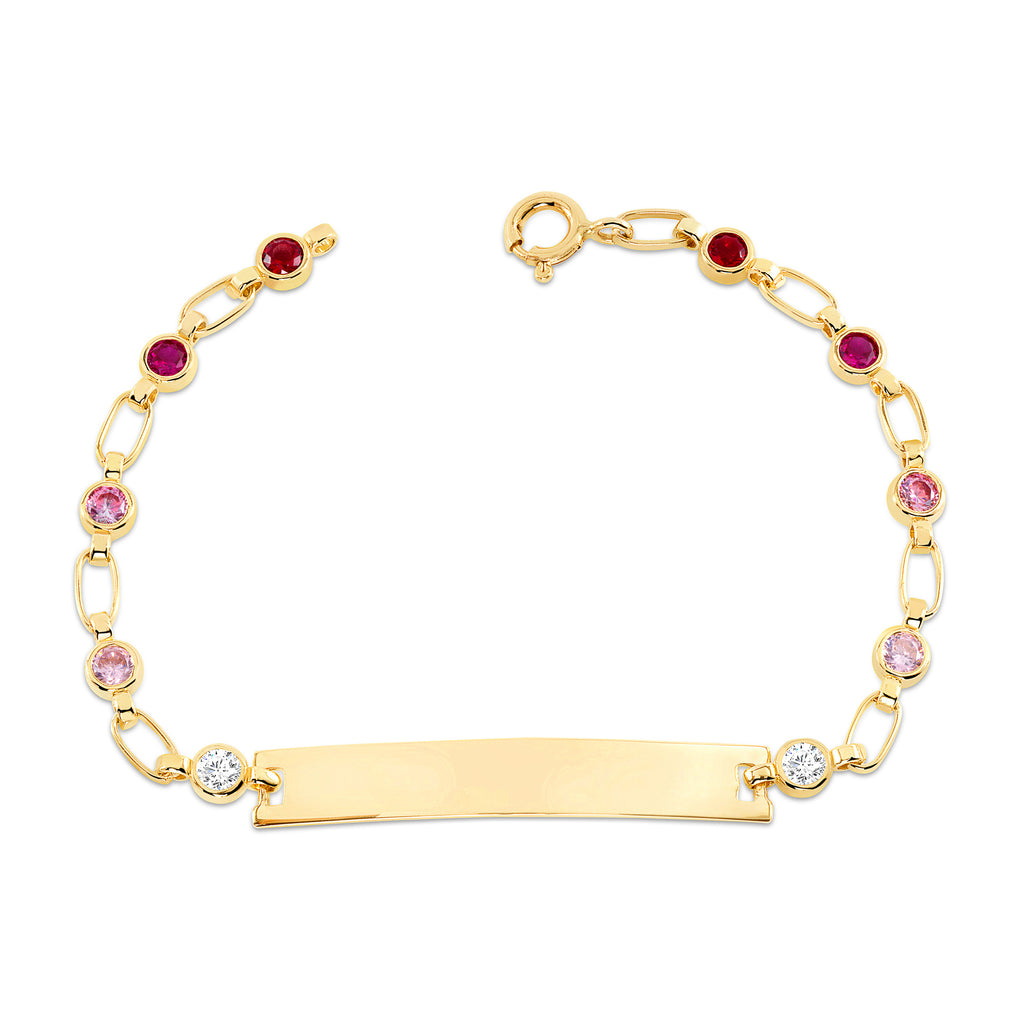 14K Gold Shades of Pink--Stone ID Bracelet, RETRO LINK ©