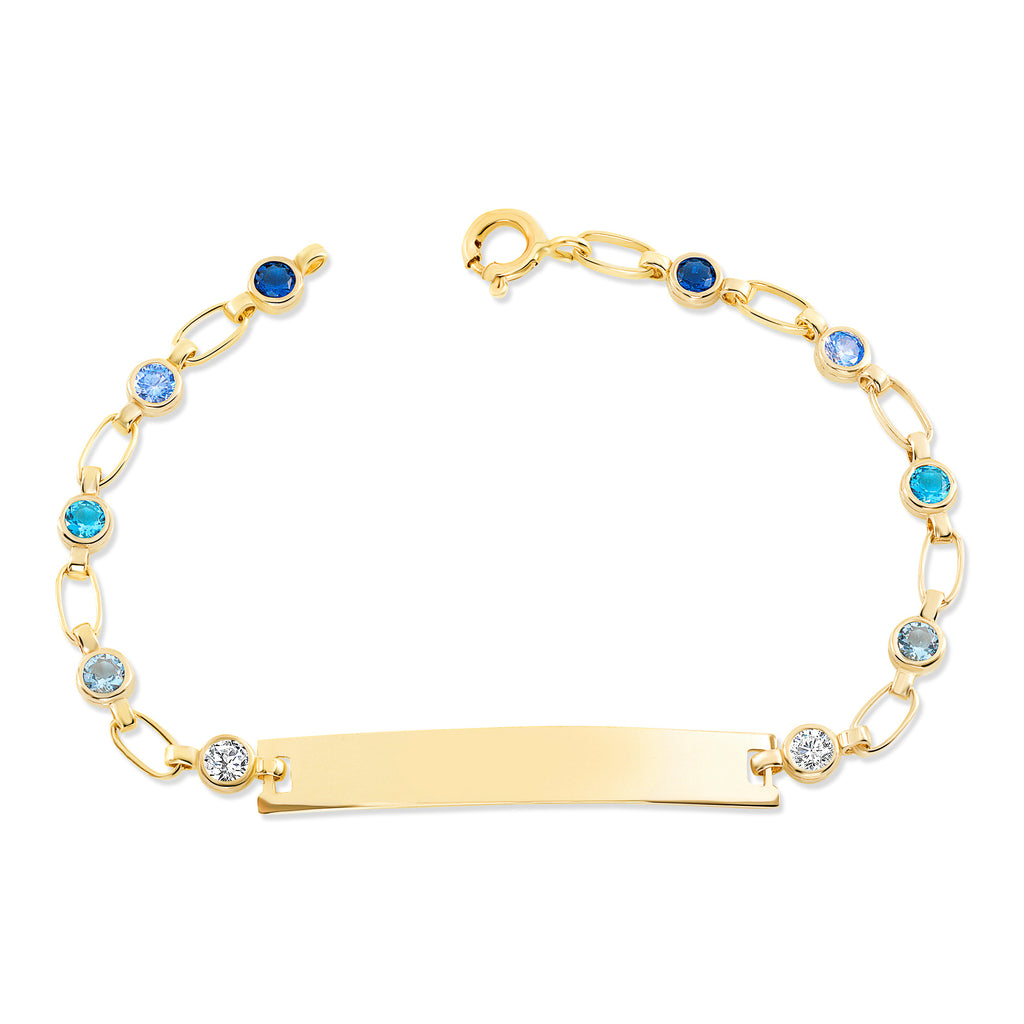 14K Gold Shades of Blue--Stone ID Bracelet, RETRO LINK ©