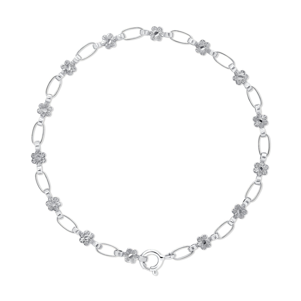 Sterling Silver Flower Chain Bracelet, RETRO LINK ©