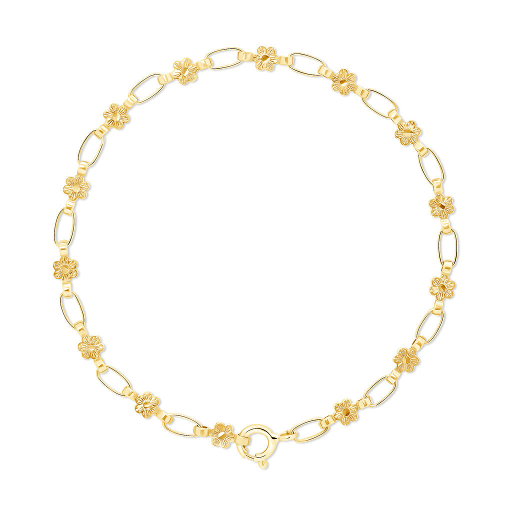 14K Flower Chain Bracelet, RETRO LINK ©