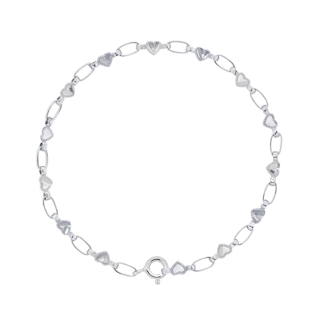 Sterling Silver Heart Chain Bracelet, RETRO LINK ©