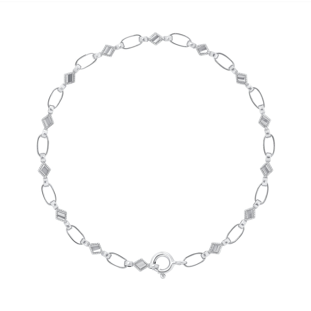 Sterling Silver Kite Chain Bracelet, RETRO LINK ©