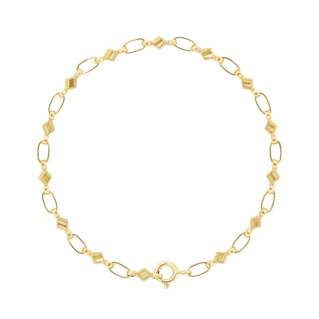 14K Gold Kite Chain Bracelet, RETRO LINK ©