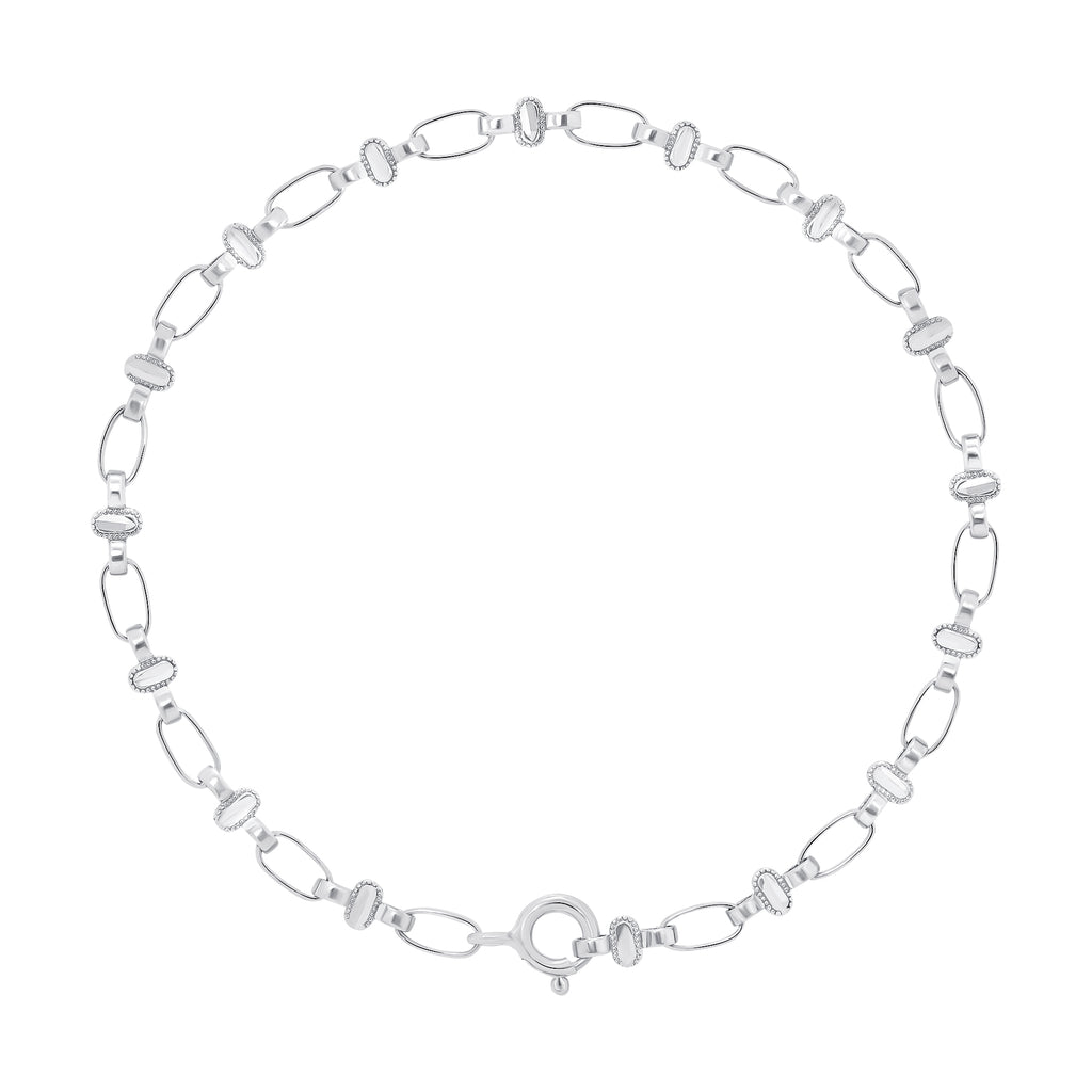 Sterling Silver Oval Chain Bracelet, RETRO LINK ©