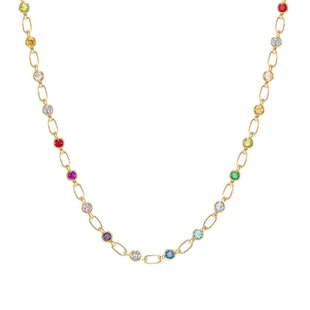 14K Gold Rainbow Stone Chain Necklace, Retro Link ©