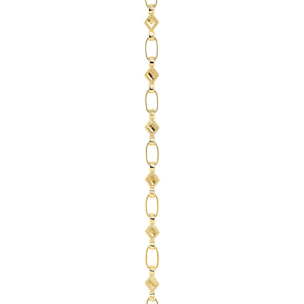 14K Gold Kite Chain Necklace, Retro Link ©