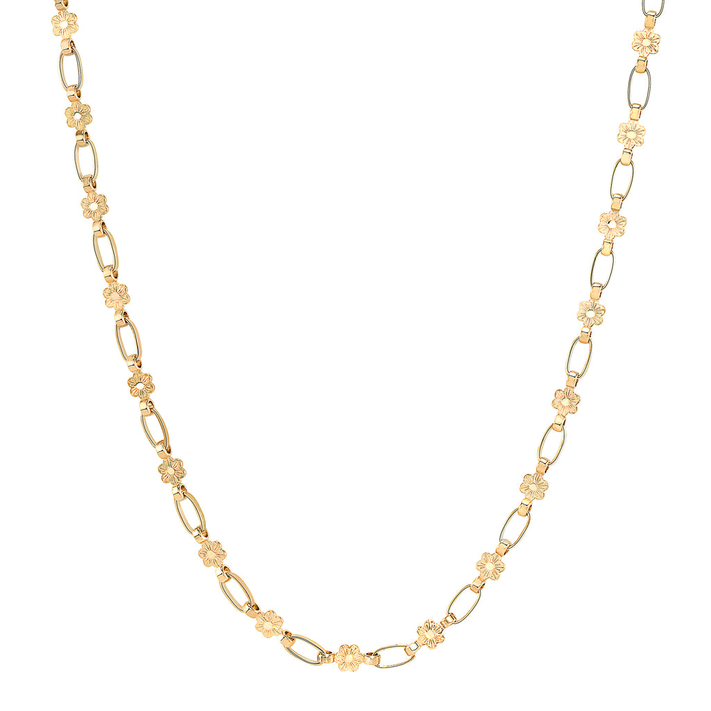 14K Gold Daisy Chain Necklace, Retro Link ©