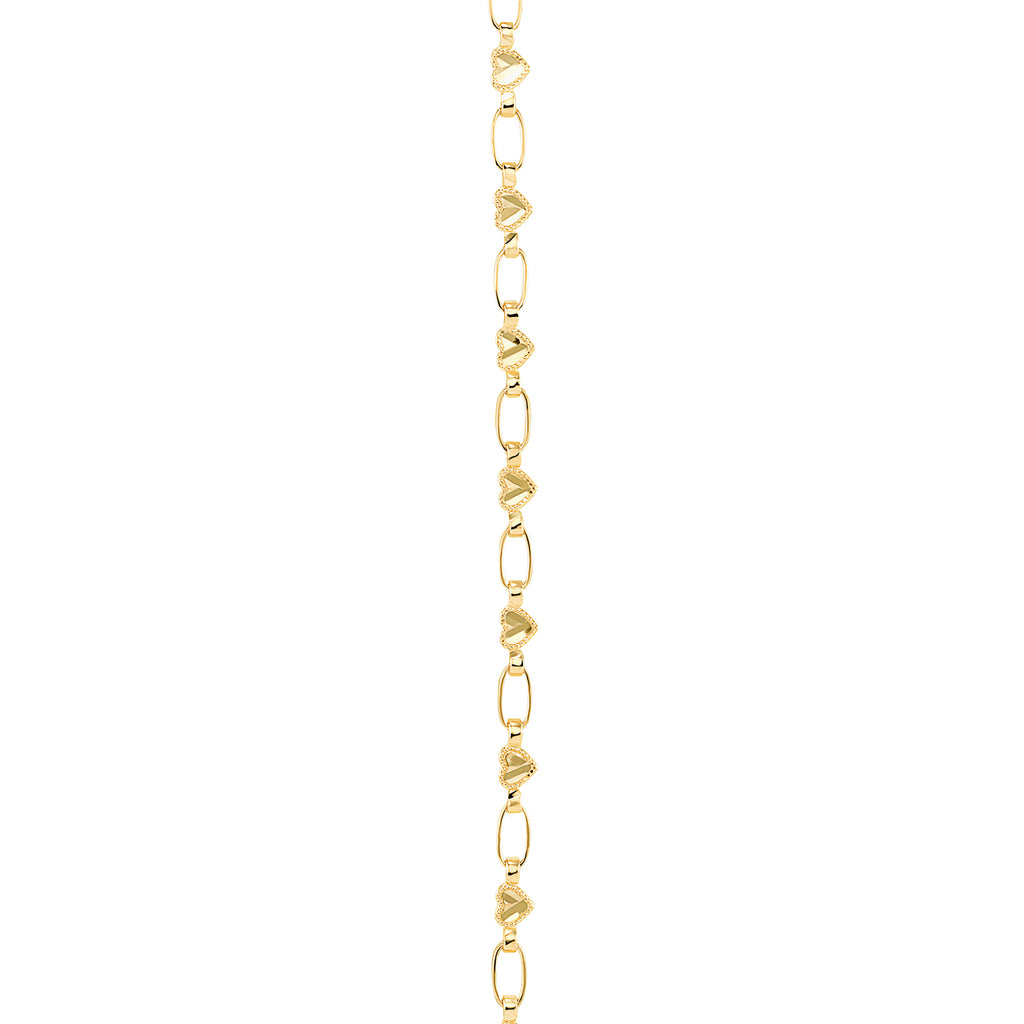 14K Gold Heart Chain Necklace, Retro Link ©