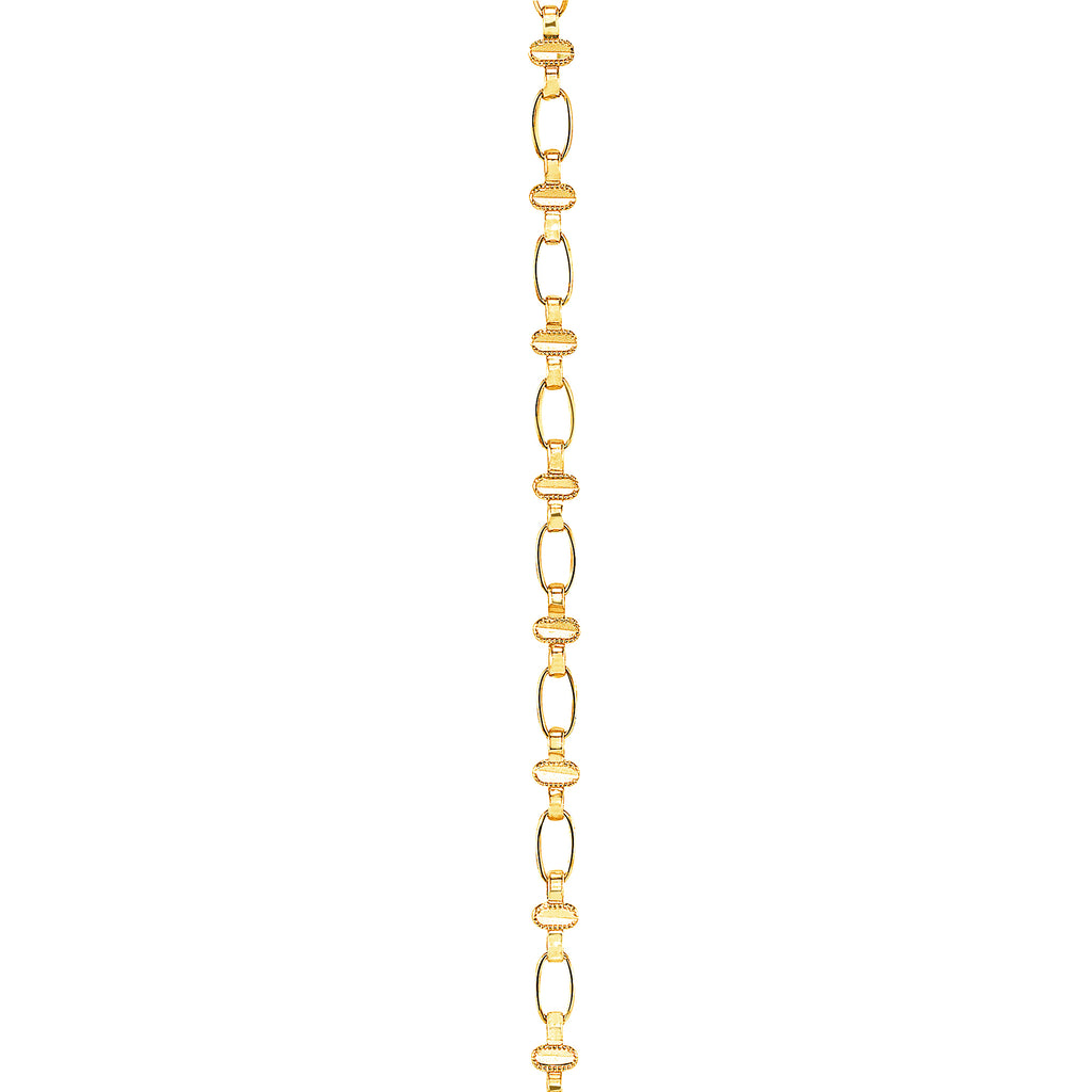14K Gold Oval Chain Necklace, Retro Link ©