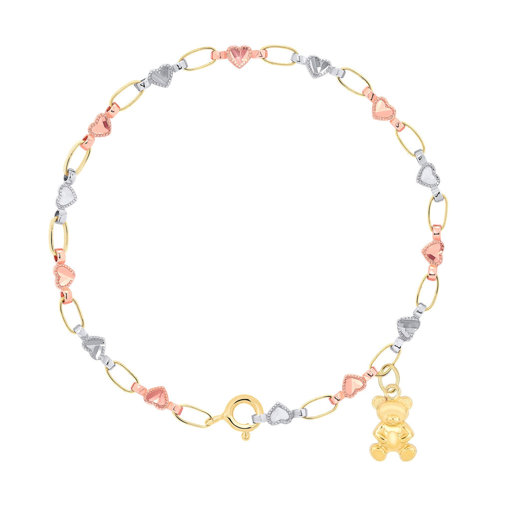 14K Gold Tri-Color Heart Charm Bracelet, Retro Link ©