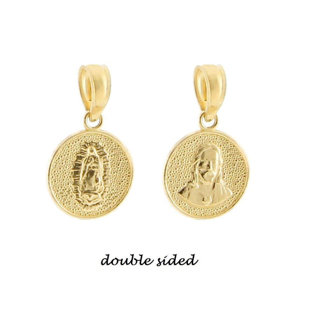 14K Gold Jesus Coin Charm