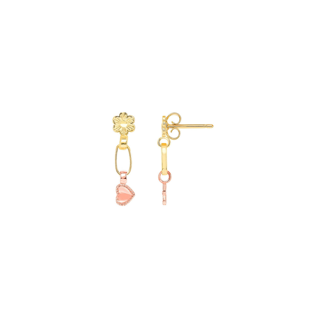 14K Gold Daisy & Heart Drop Earrings, Two-Tone Gold | RETRO LINK ©