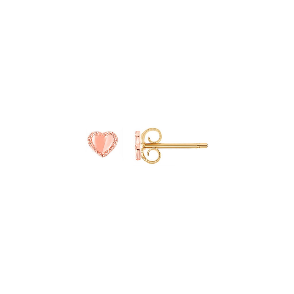 14K Heart Stud Earrings, Rose Gold | RETRO LINK ©