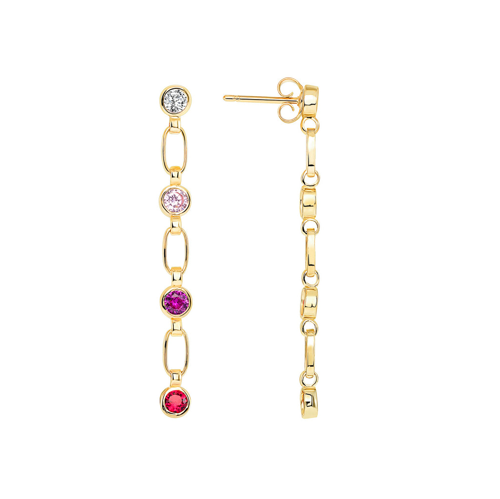 14K Gold Shades of Pink Stone Earrings, RETRO LINK ©