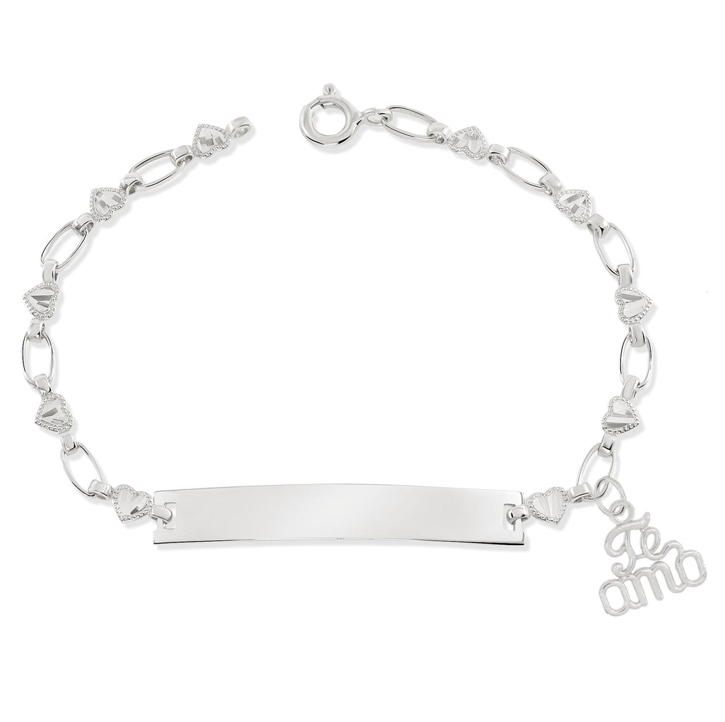 Gold-Plated Te Amo Charm ID Bracelet, Flower Chain RETRO LINK ©
