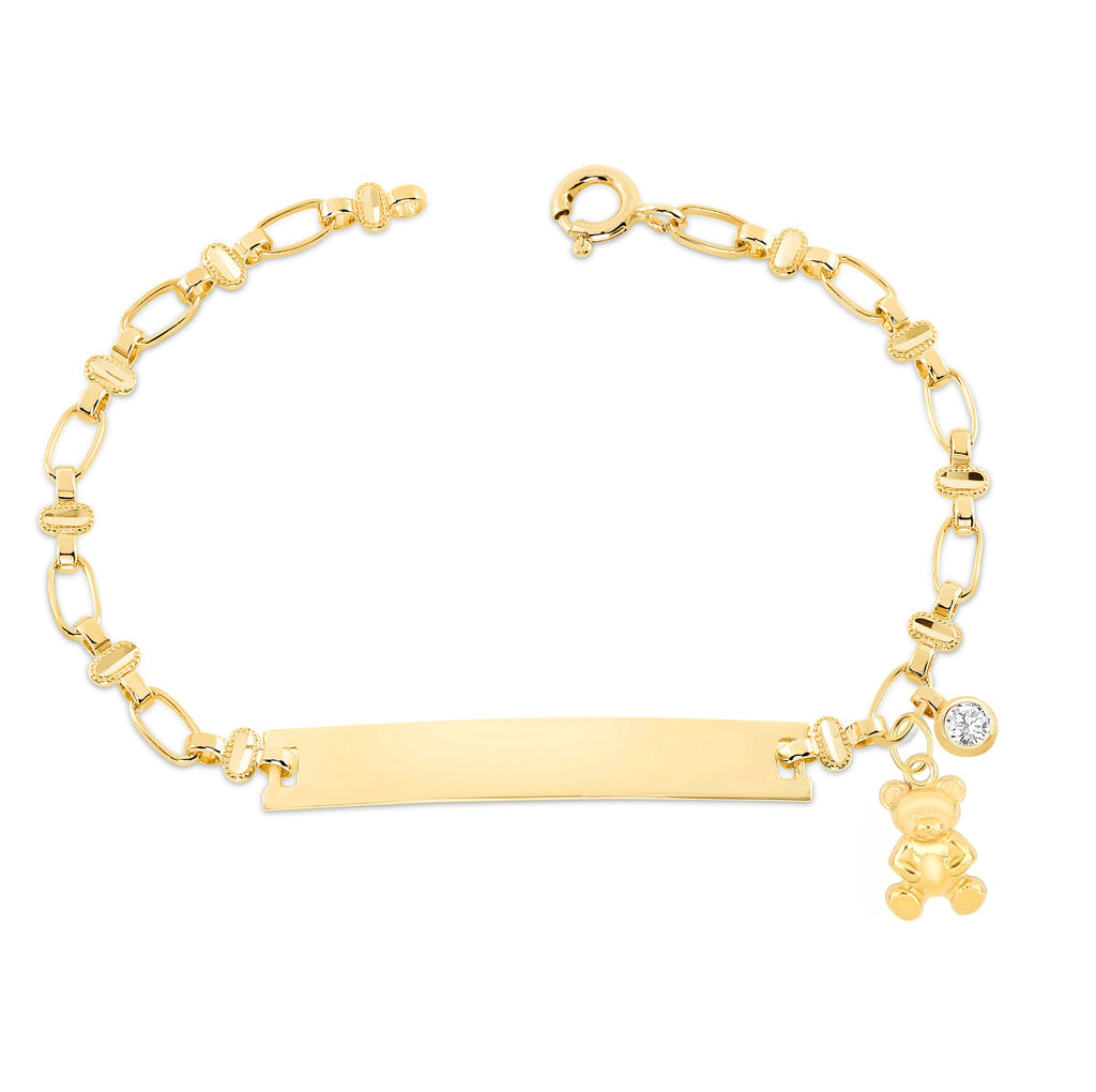 14K Gold Oval Chain ID Bracelet--Teddy Bear & Diamond Charm, RETRO LINK ©
