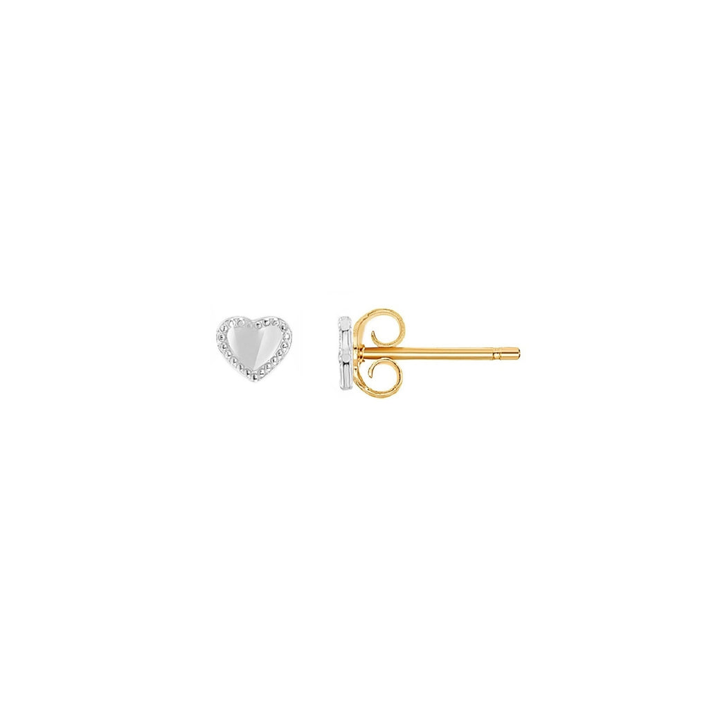 14K Heart Stud Earrings, Yellow Gold | RETRO LINK ©