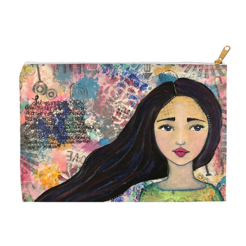 Mixed Media Girl Accessory Pouches - Jennifer Sher Art