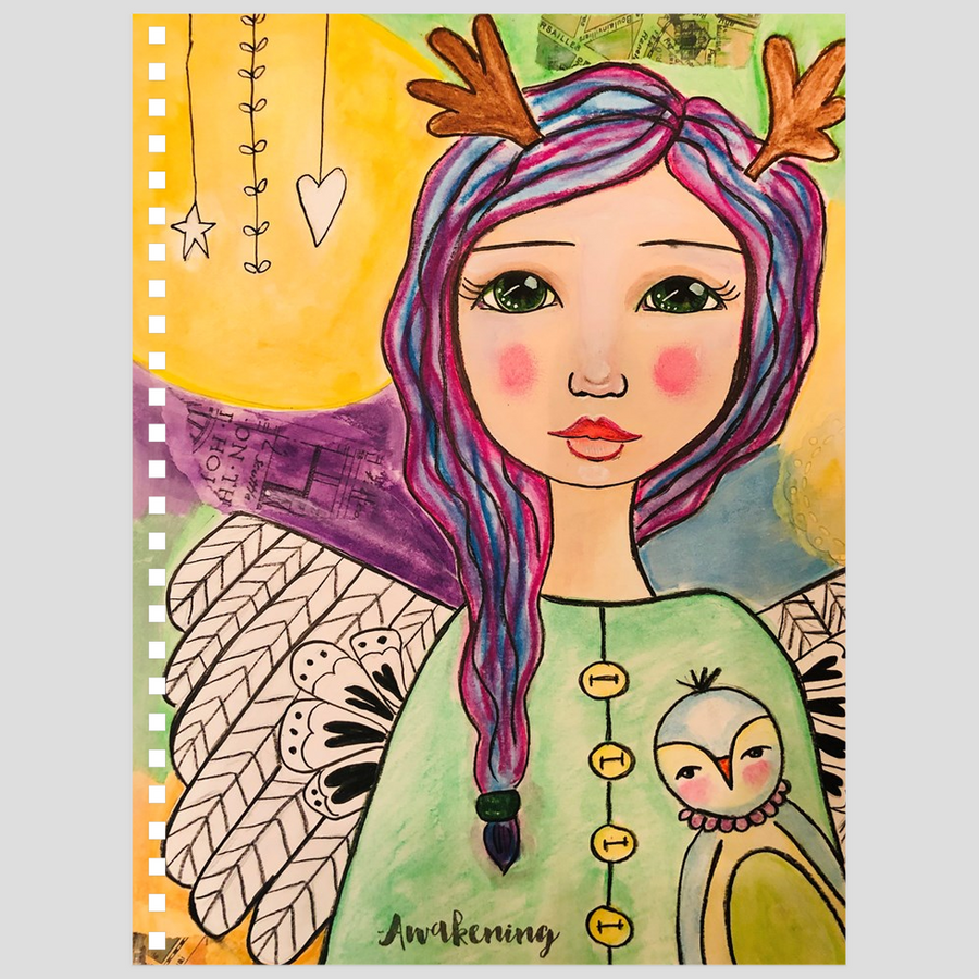 Purple Hair Angel Notebook - Jennifer Sher Art