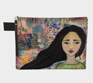 Mixed Media Imperfect Girl Carry-all Zipper Pouch - Jennifer Sher Art