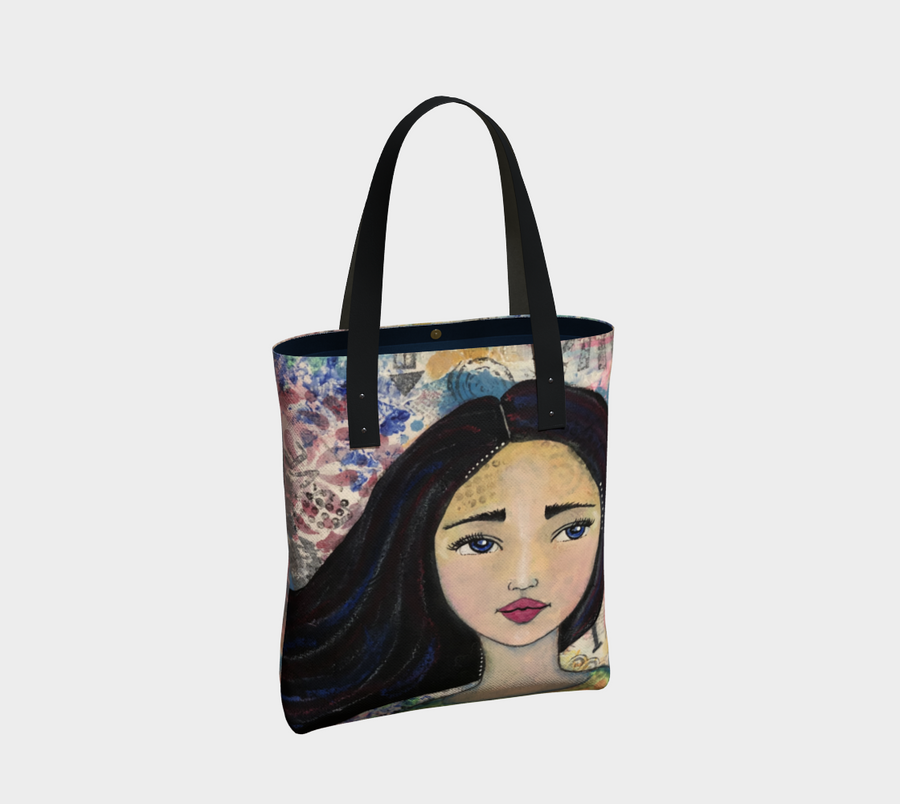 Mixed Media Imperfect Girl Urban  Tote Bag