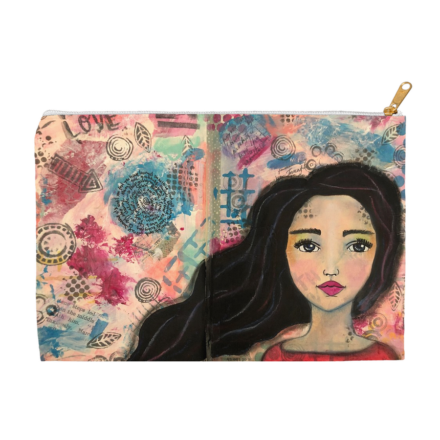 Mixed Media Girl 2 Accessory Pouches - Jennifer Sher Art