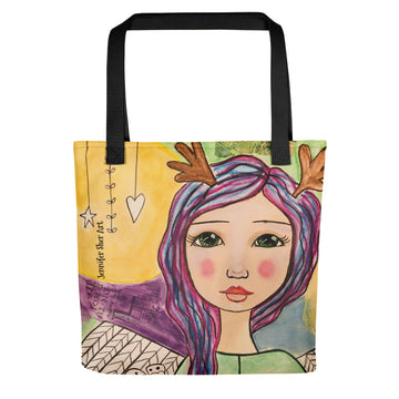 Purple Hair Angel Tote bag - Jennifer Sher Art