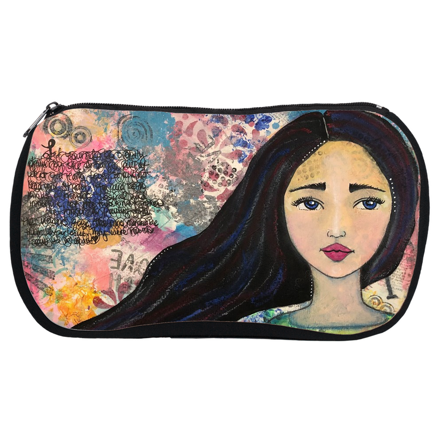 Mixed Media Girl Makeup Bag