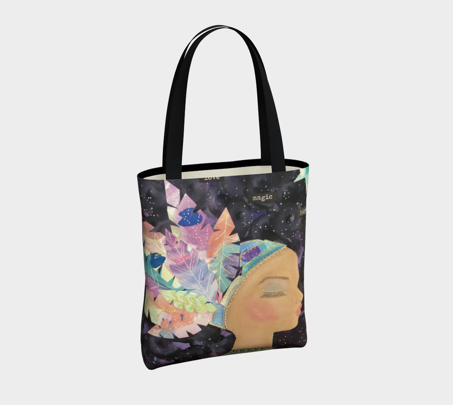 Multi-Color Feathers Girl Urban Tote Bag