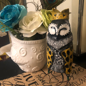 SOLD - Regal Owl With Hearts on The Crown - Jennifer Sher Art