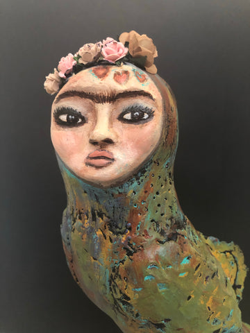 SOLD - Frida Inspired Bird Art Doll - Jennifer Sher Art