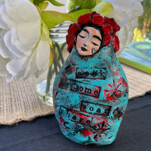 SOLD - Meditation Art Doll with Message - Jennifer Sher Art