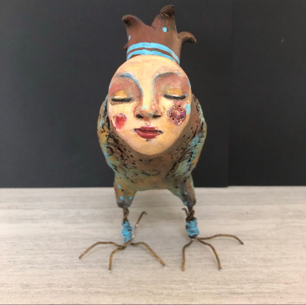 SOLD - Art Doll Quirky Bird - Jennifer Sher Art