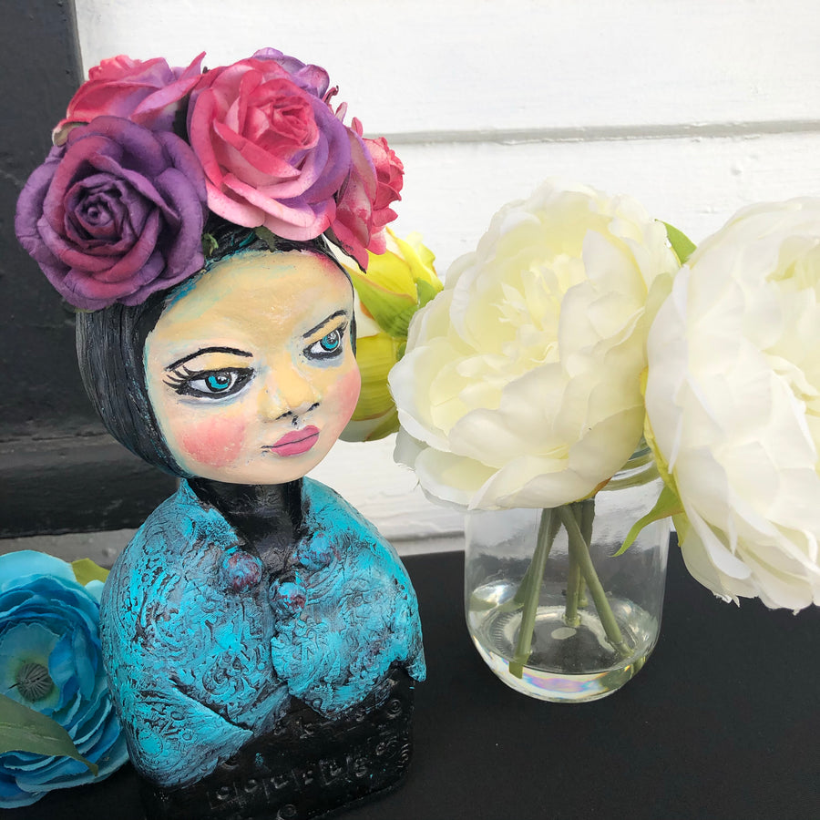 SOLD -Sophia - Flowers in her head - Jennifer Sher Art