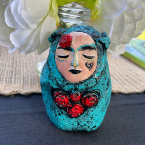 SOLD - Meditation Art Doll with Red Roses - Jennifer Sher Art