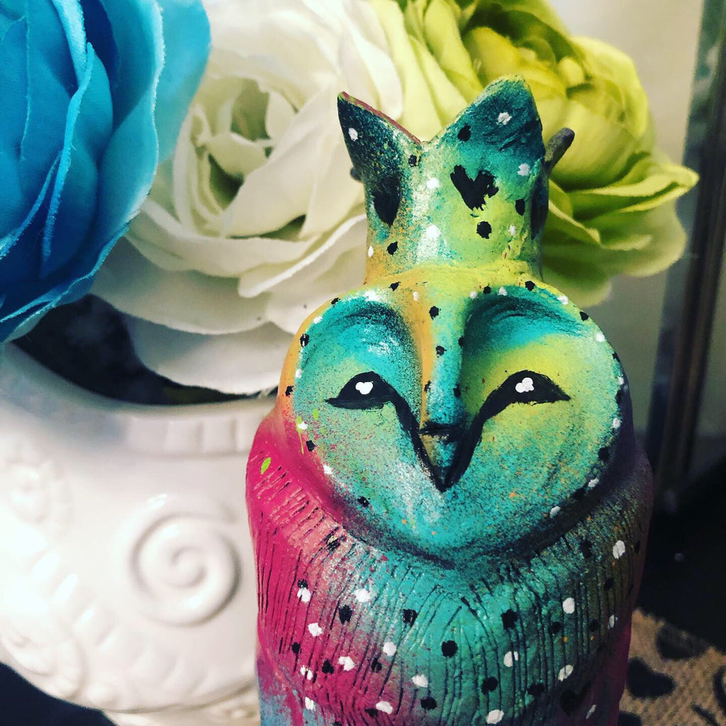 SOLD - Rainbow Owl - Jennifer Sher Art