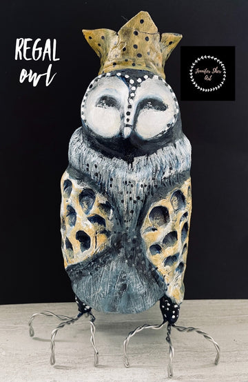Regal Owl - Yellow Large Crown - Jennifer Sher Art