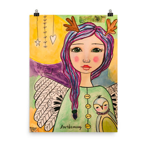 Purple Hair Angel Art Print - Jennifer Sher Art