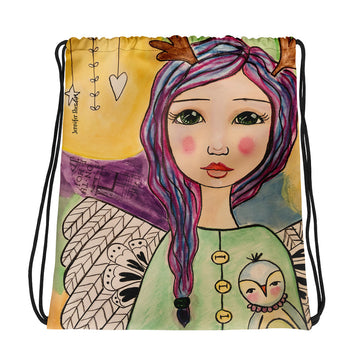 Purple Hair Angel Drawstring bag - Jennifer Sher Art