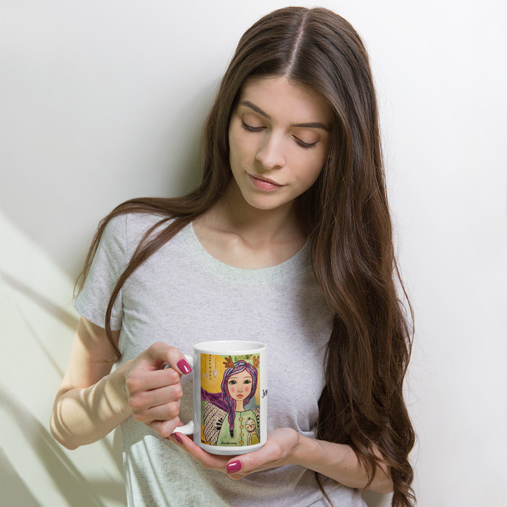 Purple Hair Angel Mug - Jennifer Sher Art