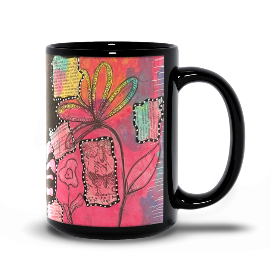 Pink Hair Girl Black Mug