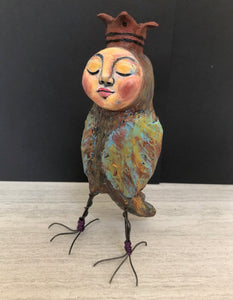 SOLD - Quirky Bird Art Doll - Jennifer Sher Art