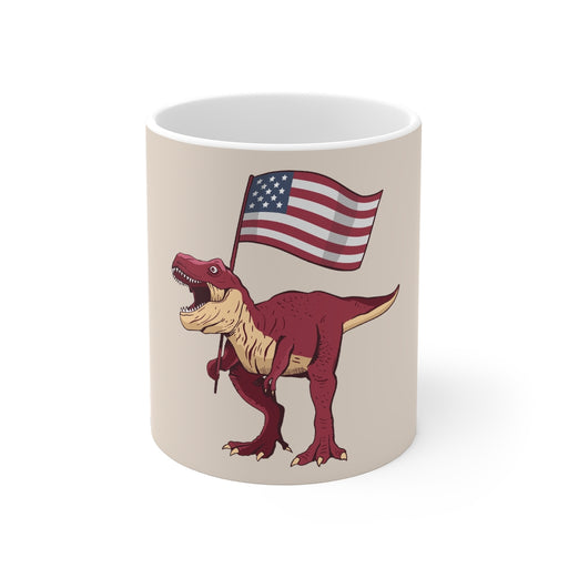 Dinosaur Coffee Mugs | Patriotic T-Rex Coffee Mug | Dinosaur Coffee Mug | sumoearth 🌎