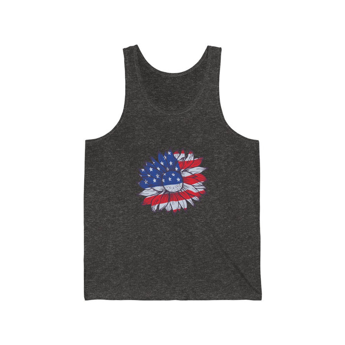 4th of July Tank Tops | Patriotic Sunflower Unisex Tank Top | sumoearth 🌎